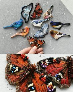 Птицы и бабочки, броши   Ручная вышивка хлопком, шерстью, бисером, крепления с серебрением/позолотой    Birds and butterflies, hand-embroidered brooches, cotton and wool threads, glass beads, clasps with silvering/gilding    #embroidery #handembroidery #handembroided #handwork #lerapetunina #birds #butterflies #embellishment #broderie #bordado #ricamo #ручнаявышивка #ручнаяработа
