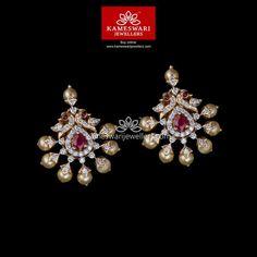 Buy Earrings Online | Diamond Peacock Duet! from Kameswari Jewellers