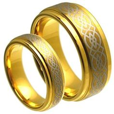 His & Her's 8MM/6MM Tungsten Carbide Gold Plated Step Edge with Celtic Knot Design Center Wedding Band Ring Set, Men's, Size: Ladies Size 5 - Mens Size 9