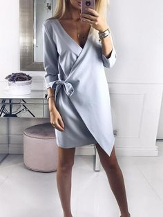 Solid V Neck Wrapped Mini Dress