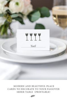 Use These Modern and Beautiful Place Cards To Decorate To Your Passover Seder Table - Jewish Food Hero
