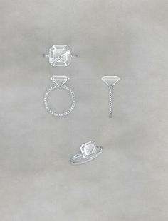 Proposal for a diamond ring set with an asscher cut diamond and a pave set diamond shank.