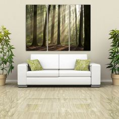 """3 Panel Split Tree and forest Canvas Print, 1.5"""" deep frames - pink leafs in park for home / office decor & interior design"""