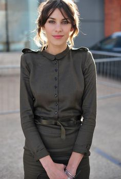 Alexa Chung in military inspired shirt