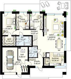 Zacisze 6 T projekt - Parter m² + garaż m² Bauhaus, Home Projects, Planer, Habitats, Tiny House, House Plans, Sweet Home, Villa, Floor Plans
