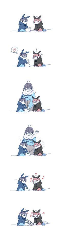 Snow bunny ...  Drawn by JUSTIS ...  Free! - Iwatobi Swim Club, haruka nanase, haru nanase, haru, nanase, haruka, free!, iwatobi, rinrin, haru-chan, squishy bean, snow bunny
