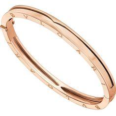 BVLGARI B.zero1 18ct pink-gold bangle bracelet (90 600 ZAR) ❤ liked on Polyvore featuring jewelry, bracelets, rose gold bangle, pink gold jewelry, red gold jewelry, engraved bangle bracelet and bangle jewelry