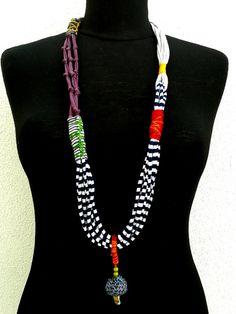 Textile Kette Stoff Halskette Textile Schmuck leichte Halskette komfortable Halskette Stoff Schmuck Türkis orange