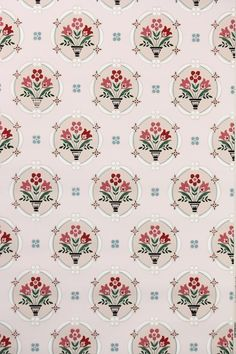 1950s floral vintage wallpaper, so cute for a vintage or retro kitchen! Lovin' the pink and red combos and sweet little tulip flowers.