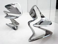 Italian furniture company Sawaya & Moroni presents 'z-chair' by London-based architect Zaha Hadid as part of Milan design week 2011.