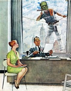 With apologies to Norman Rockwell… Halloweenized Frankenstein Window Washer - Saturday Evening Post cover detail September 17, 1960