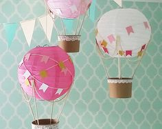 Whimsical Hot Air Balloon decorazione fai da te kit HOT PINK, nursery decor, Baby shower, Baby Girl vivaio, vivaio di tema viaggio - set di 3