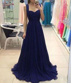 royal blue chiffon long prom dress, blue bridesmaid dress