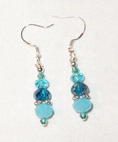 Baby Blue Crystal Dangle Earrings w/925 Silver Hooks Handmade