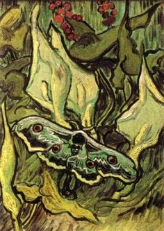 Vincent Van Gogh found this emperor moth in the hospital garden at Saint-Rémy and painted it against the backdrop of Lords-and-Ladies. by Vincent van Gogh Fine Art Reproduction. Vincent Van Gogh, Van Gogh Art, Art Van, Desenhos Van Gogh, Van Gogh Pinturas, Emperor Moth, Van Gogh Paintings, Ouvrages D'art, Dutch Painters