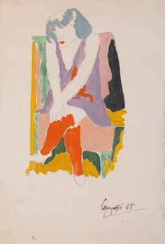 Giuseppe Capogrossi (Italian, 1900-1972), Seated dancer, 1945