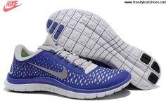 Buy New Mens Nike Free 3.0 V4 Platinum Reflect Silver Deep Royal Blue Shoes Fashion Shoes Store