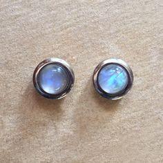 Rainbow Moonstone Bezel Set Stud Earrings