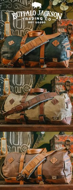 Crafted of waxed canvas and full grain leather with a distressed vintage finish, these military duffle bags were built to honor the memory of good men and good days. Most durable of canvases, and highest grade leather. Extra straps to convert to backpacks, and plenty of room for all your work, sport, or travel products. Great gifts for him.