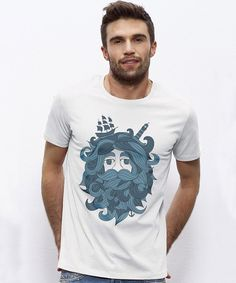 "White organic t-shirt ""Sea-Man"" 
