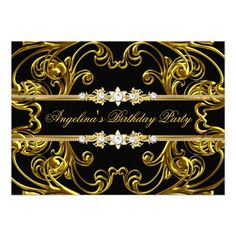 Elegant Gold Black Birthday Party Personalized Announcement
