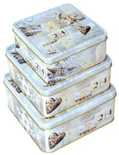 Sada 44 - 3ks Plechové krabice na cukroví -  č.44/217518 SET Back To School, Decorative Boxes, Home Decor, Products, Decoration Home, Room Decor, First Day Of School, Entering School, Interior Design