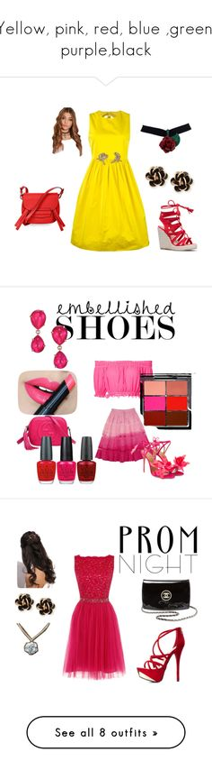 """""""Yellow, pink, red, blue ,green, purple,black"""" by emeraldcrystalstar ❤ liked on Polyvore featuring N°21, Chantecler, BCBGMAXAZRIA, Apiece Apart, CABARET, Aquazzura, Gucci, Pomellato, MAC Cosmetics and OPI"""