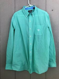 Chaps Mens Button Down Shirt Easy Care Long Sleeve Green White Checkered Size XL #Chaps #ButtonFront