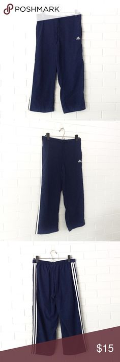 """Make Bundle Offer • Adidas Cropped Athletic Pants ▫️Brand: Adidas ▫️Size: M ▫️Material: Polyester ▫️Flaws: NONE  ▫️Description:  •Elastic drawstring waist •Side pockets •Adidas logo & stripes  ▫️Measurements Laying Flat: •Waist: 14"""" •Length: 31""""  ▫️NO Trade/Hold ▫️Next Day Shipping ▫️Smoke Free/Kitty Friendly Home Adidas Pants Track Pants & Joggers"""