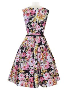 Audrey Hepburn Style Retro Peony Printed Sleeveless Vintage Swing Black Party Dress Plus Size - WSDear.com