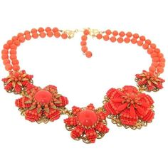 Preowned Stanley Hagler Nyc Coral Necklace (1,120 CAD) ❤ liked on Polyvore featuring jewelry, necklaces, red, vintage necklace, floral necklace, vintage statement necklace, red coral jewelry and pre owned jewelry