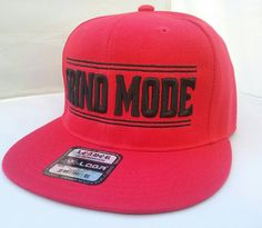 Red & Black Grind Mode Snapback Hat. Flat by ChrisHouseofStyle