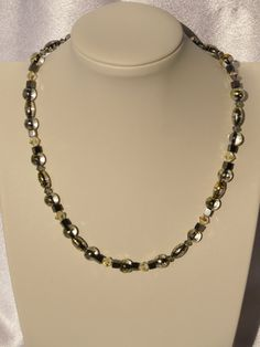 Beaded Necklace--Black, Silver and Gold Glass Choker