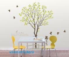 Vinyl Wall Decal Nature Design Tree Wall Decals Wall stickers Nursery wall decal wall art------birds and tree. $65.00, via Etsy.