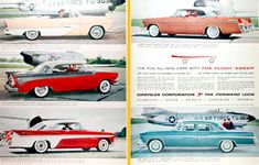 1956 Chrysler Flight Sweep models original vintage advertisement. Photographed in rich color featuring the Plymouth Belvedere Convertible, Dodge Custom Royal Lancer Coupe, DeSoto Fireflite Sportsman, Chrysler New Yorker Newport Sedan, and the Imperial 4-Door Sedan.