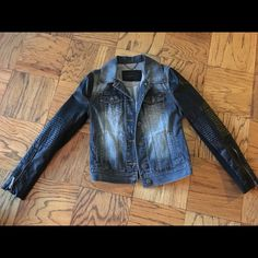 Authentic BCBGMAXAZRIA Denim&Faux Leather Jacket-S New without tags. Best price thru ppl. BCBGMaxAzria Jackets & Coats Jean Jackets