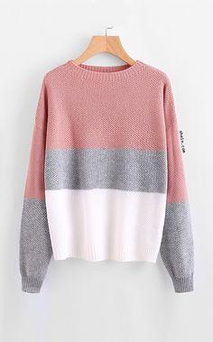 Drop Shoulder Color Block Textured Sweater Jumper