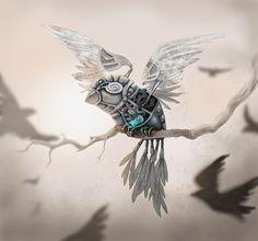 pájaro mecánico, ilustración de Gabillustrator