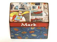 Superhero Treasure Box Wood Boys Keepsake Box Comic Book