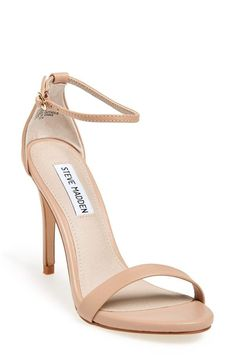 A slim ankle strap lends a dash of on-trend elegance to a clean, simplified high-heel sandal. Stay a step ahead in Steve Madden s trend-leading Stilettos, Pumps Heels, Nude Strappy Heels, Sandal Heels, Tennisschuhe Outfit, Dress Outfits, Dresses, Steve Madden Stecy, Steve Madden Heels