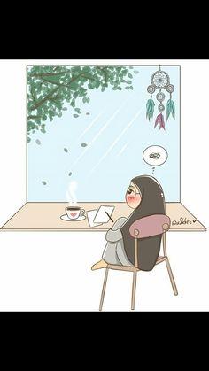 Cartoon Quotes, Cartoon Art, Tmblr Girl, Chibi, Hijab Drawing, Islamic Cartoon, Anime Muslim, Hijab Cartoon, Islamic Pictures
