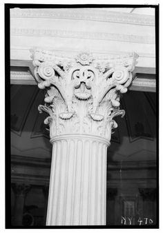Historic American Buildings Survey, Arnold Moses, Photographer June 24, 1937, CAPITAL OF ROTUNDA COLUMN. - U. S. Custom House, 28 Wall Street, New York, New York County, NY HABS NY,31-NEYO,53-12.tif
