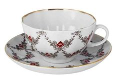 Garlands Teacup & Saucer from The Imperial Porcelain Factory, St. Petersburg (The Lomonosov Porcelain Factory)
