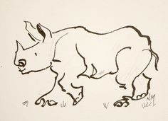 by Nora MacPhail - Watercolour Artist, Toronto Watercolour Society, rhino, animal, line, contour, pen, ink, InkTober, sketch, daily, paintwork
