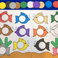fish color match for preschool and kindergarten Fish Activities, Preschool Learning Activities, Color Activities, Infant Activities, Preschool Activities, File Folder Activities, File Folder Games, Preschool Colors, Toddler Classroom