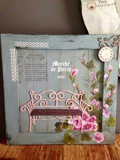 Cuadro con calados y pincelada by Hausa Cote (fb) Decoupage, Frame, Cards, Usa, Home Decor, Ideas, Frames, Crafts, Canvases