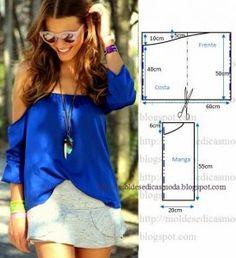 blusa cigana azul
