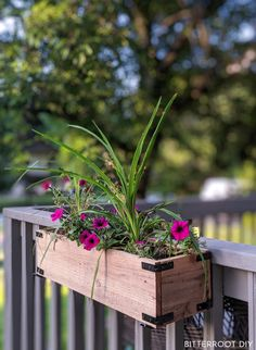 Easy Cedar Planter Boxes Build your own cedar planter boxes with these free plans - customize them for window boxes or to decorate the porch or patio. Railing Flower Boxes, Railing Planter Boxes, Diy Flower Boxes, Cedar Planter Box, Window Box Flowers, Diy Planter Box, Wooden Flower Boxes, Porch Planter, Balcony Planters