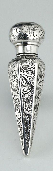 unusual 1894 bright cut sterling silver scent perfume bottle