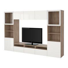 """BESTÅ TV storage combination/glass doors - walnut effect light gray/Selsviken high gloss/white clear glass, drawer runner, soft-closing, 118 1/8x15 3/4x75 5/8 """" - IKEA"""